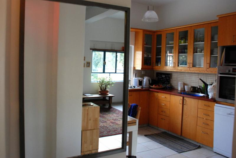 Kitchen (with living room reflection in mirror)
