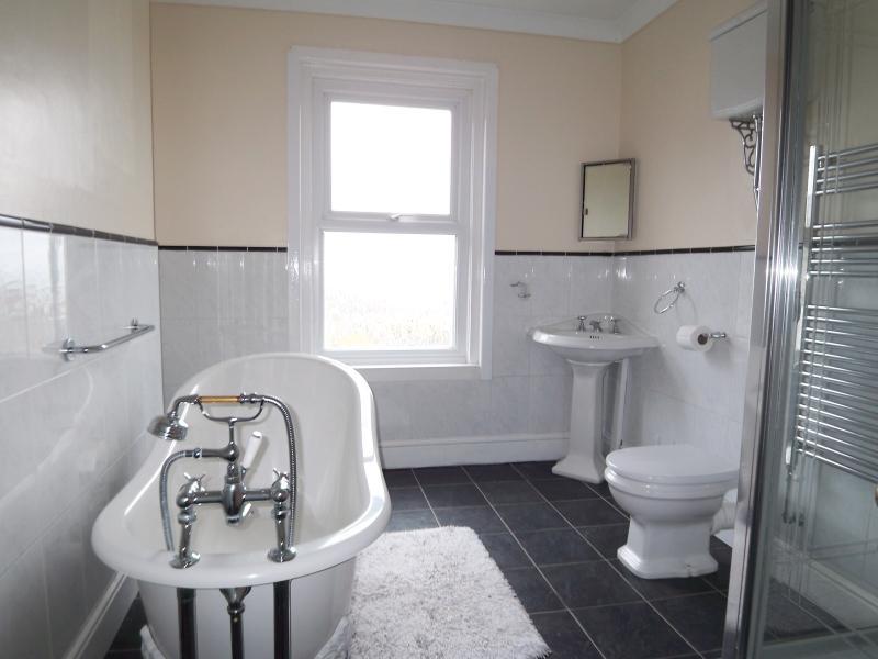 La salle de bain a une douche de taille double et d'un bain de style antique « chausson ».