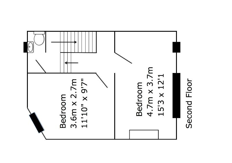 Floor Plan - Second Floor - Twin Room, King Double Room and separate WC