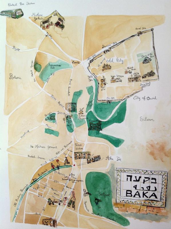 Map of Baka and Jerusalem Points of interest