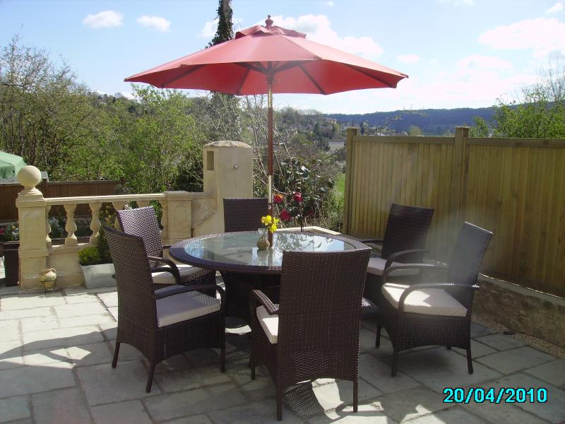 The upper patio dining area