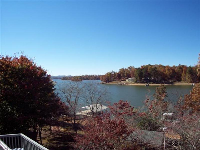 Enjoy the view from Master Bedroom balcony across our cove on Lake Chatuge