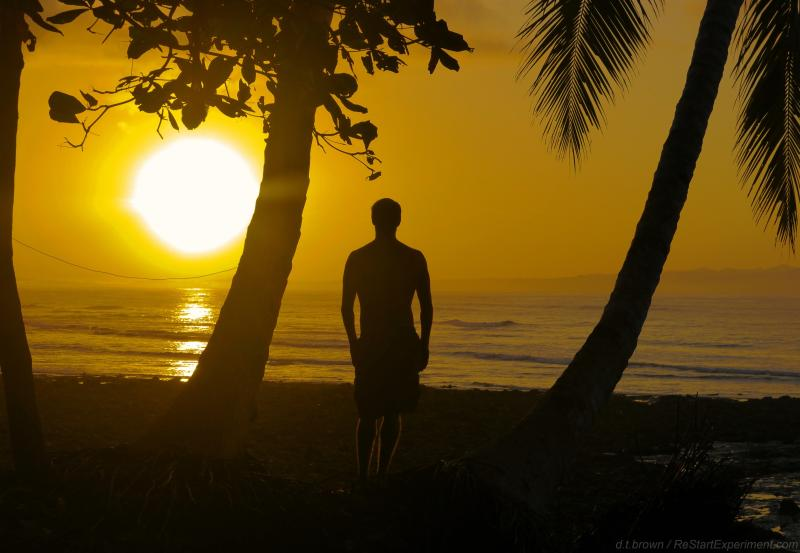 Sunrise over the Golfo Dulce at the secluded beach right out front, steps away from Cabinas Ola Mar