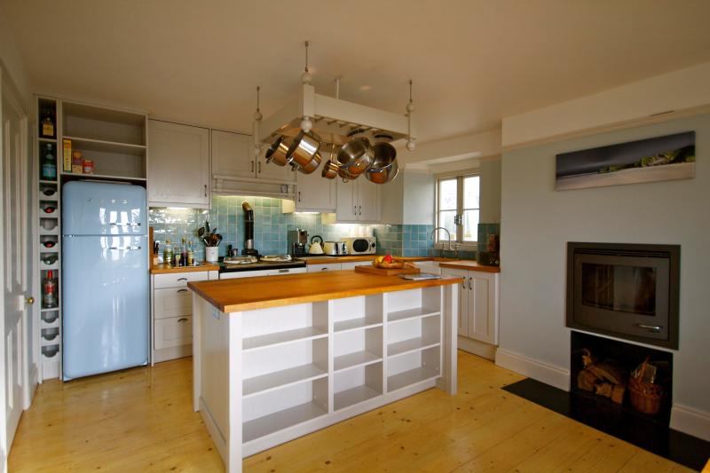cosy kitchen with aga & log burner