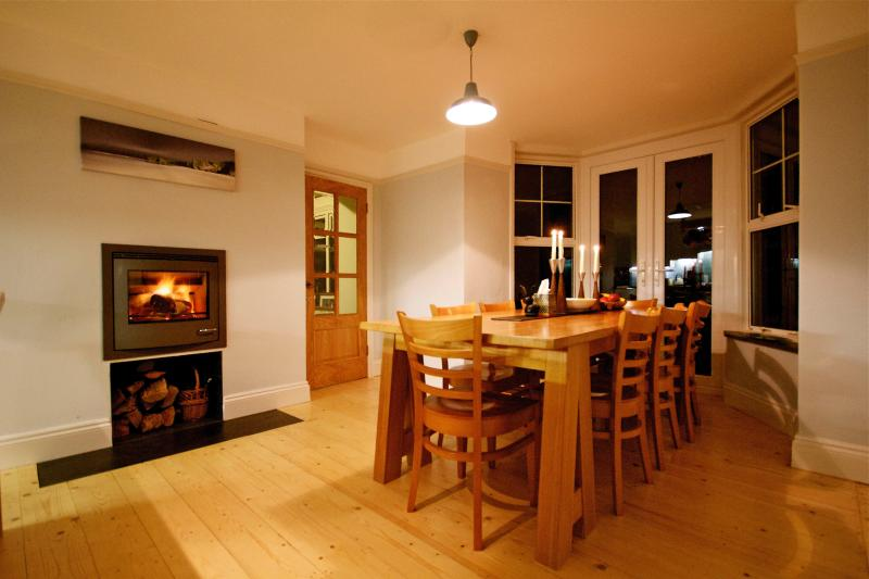 Dining room with inset log burner