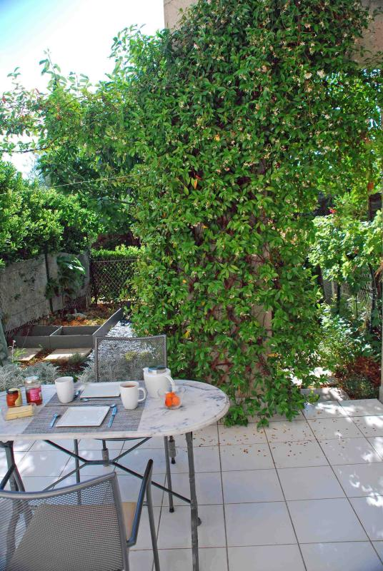The breakfast place in the back garden terrace next to the jasmin bush : choose the table
