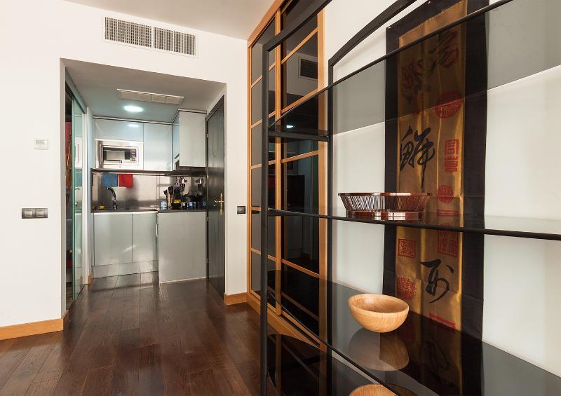 Asian-inspired shelving, modern kitchen