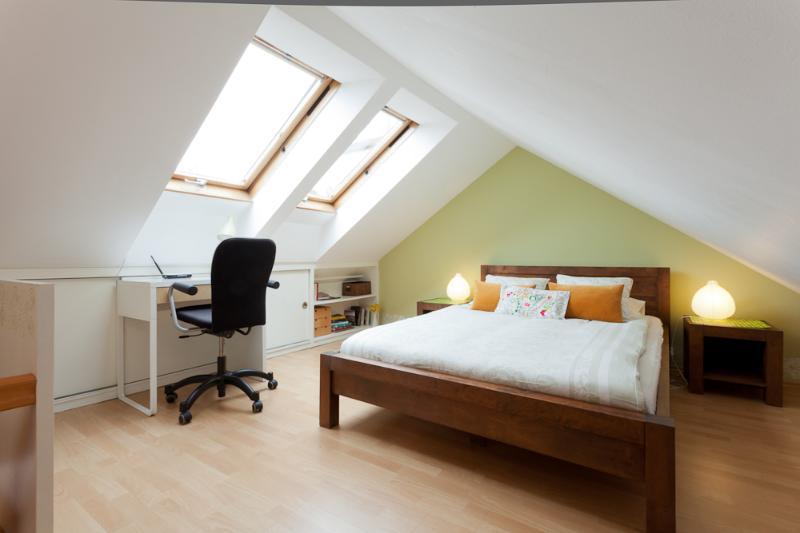 The bedroom on the mezzanine