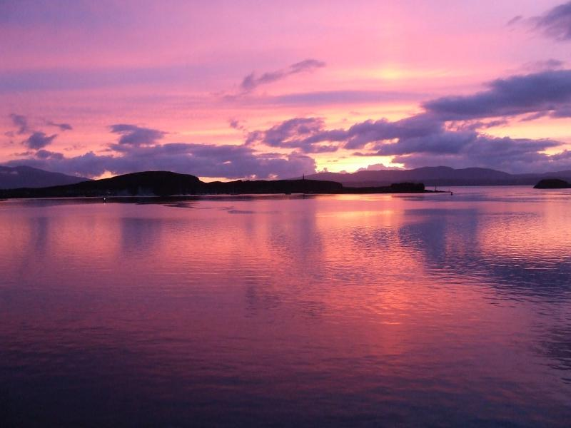 sunset on ferry to Mull