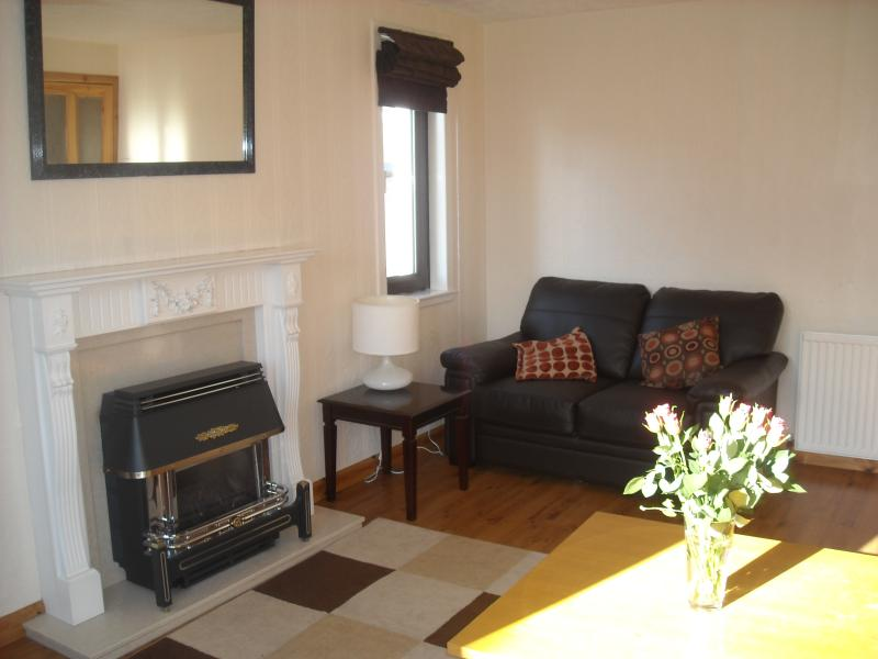 Livingroom -  3 leather sofas seats 6  -  easy clean wood flooring -Gas Fire, Central Heating