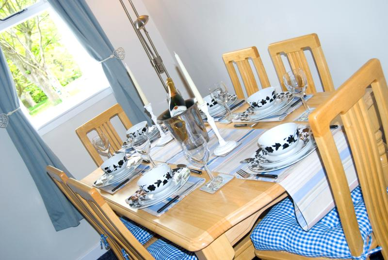 Dining area ready for a fabulous holiday meal