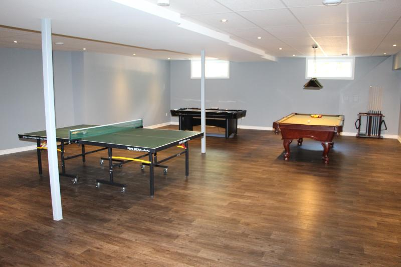 Playroom, table tennis, pool table and air hockey