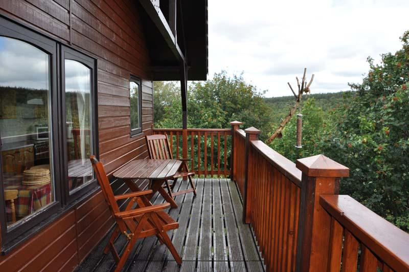 Balcony visited by red squirrels.