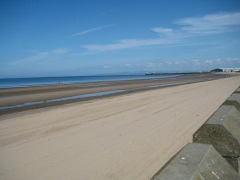Ayr beach (just under 2 miles away)