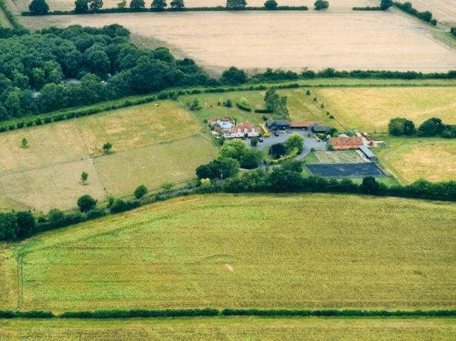 Ariel view of the property, set in 17 acres and surrounded by countryside.