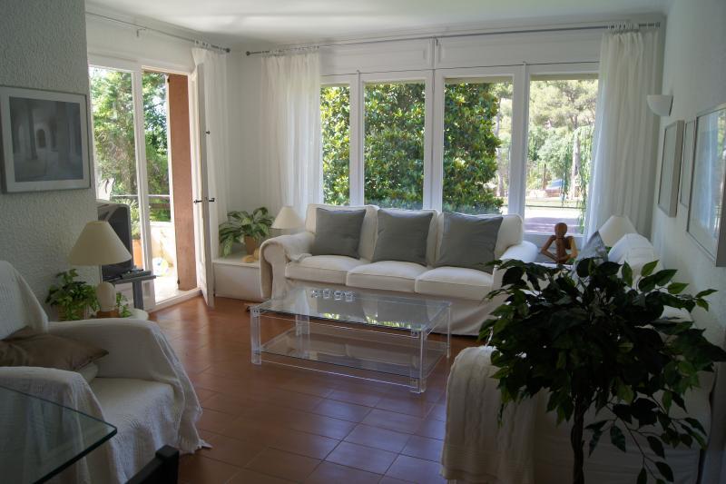 luce ampio salotto con porte finestre al terrazzo