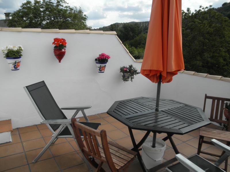 La terraza privado para las clientes