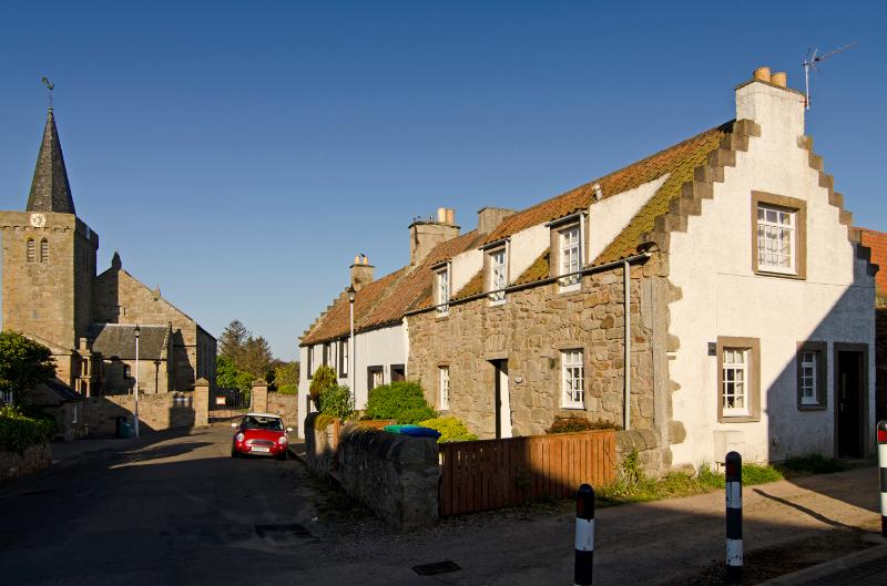 Duck Cottage, Main Street and Kilrenny Kirk - a quiet location with easy access to the rest of Fife