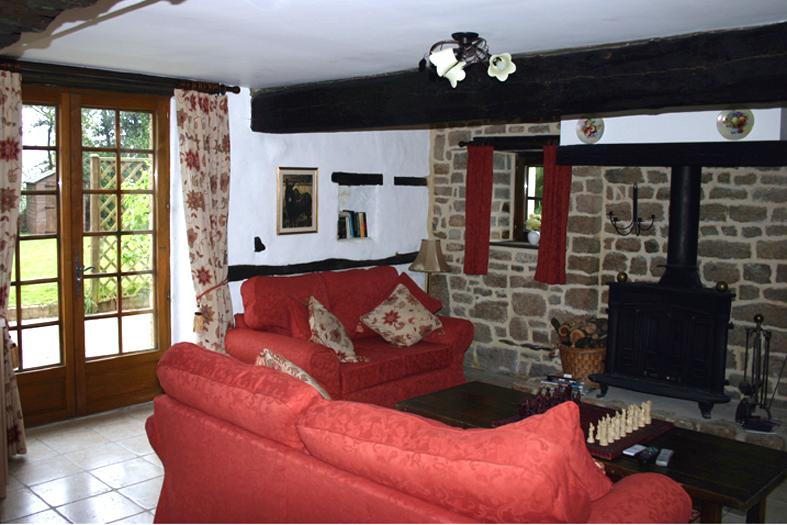 Lounge sitting area with log burner