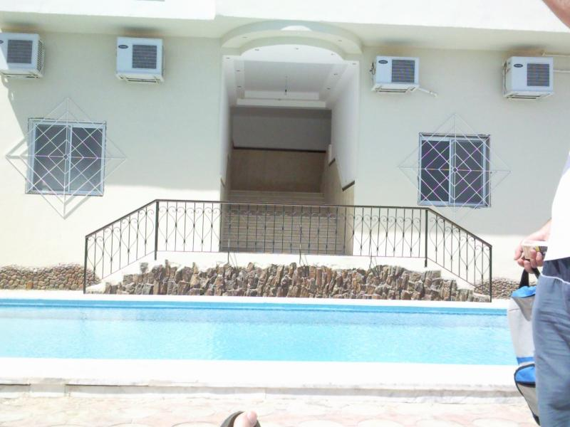 pool and apartment entrance