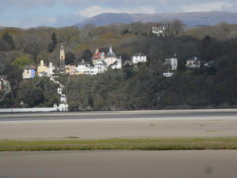 Portmeirion, Italianate village directly opposite the cottage on the opposite side of the estuary