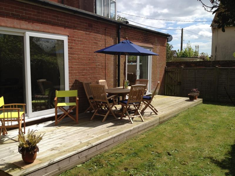 Secluded private rear garden enjoys sunshine all day and is safe for children