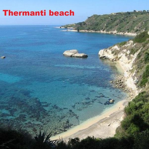Thermanti beach - Approaching by a safe stone path