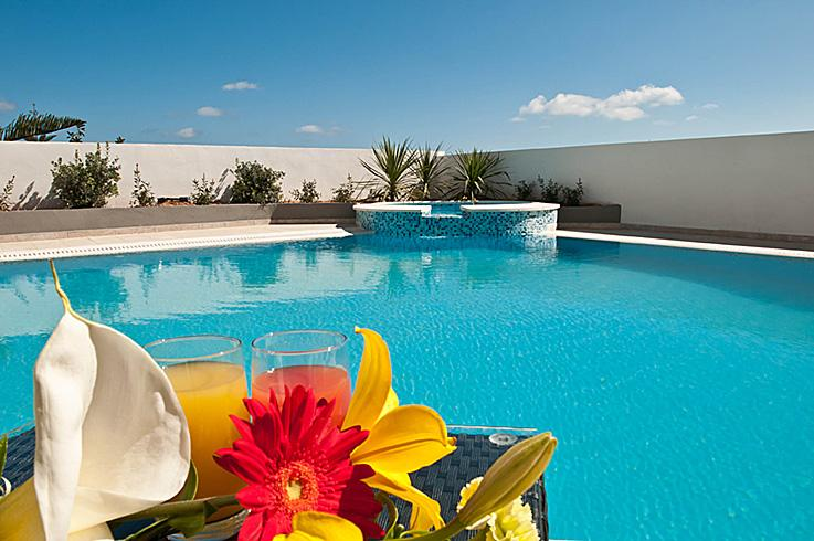 outdoor pool area with surrounding dining and entertaining area