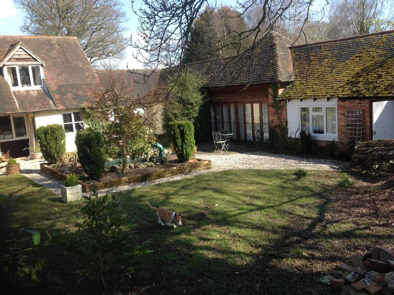The cottage overlooks the west facing courtyard garden