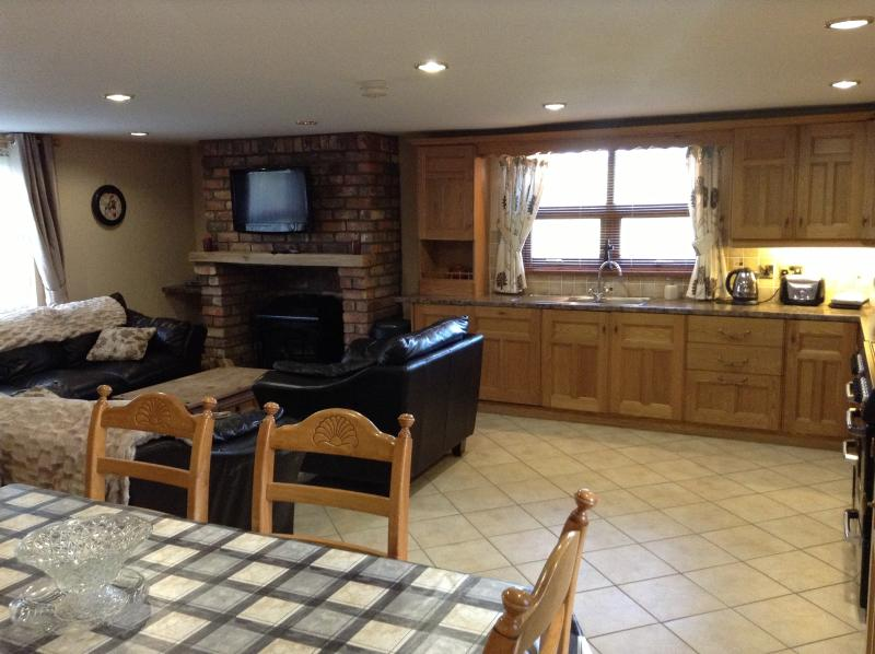 Large open plan kitchen, seating and dining area
