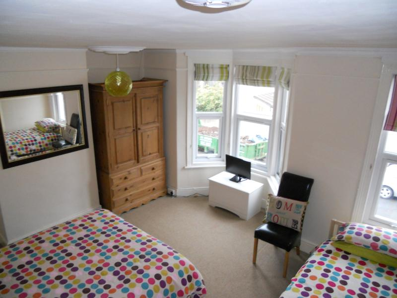Bedroom 2 is a spacious room with a kingsize bed and a single bed, plenty of room, sleeps 3.