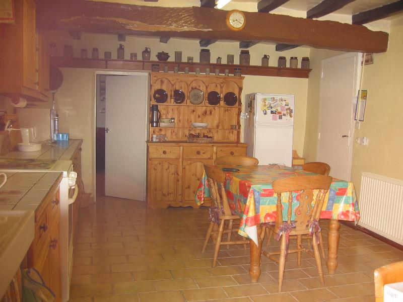 Kitchen. Gas & microwave cookers,fridge with freezer.Table & 4 chairs. All crockery,cutlery