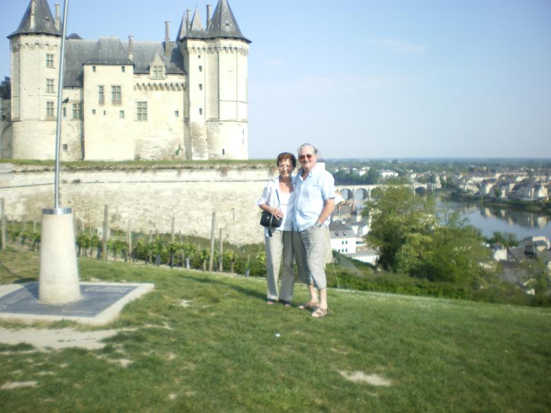 Saumur chateau. Photo shot overlooking La Loire. Large Saturday market, bars.restaurants.