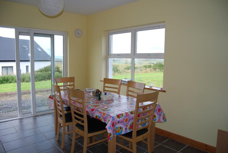 large kitchen with views of the sea and croagh patrick