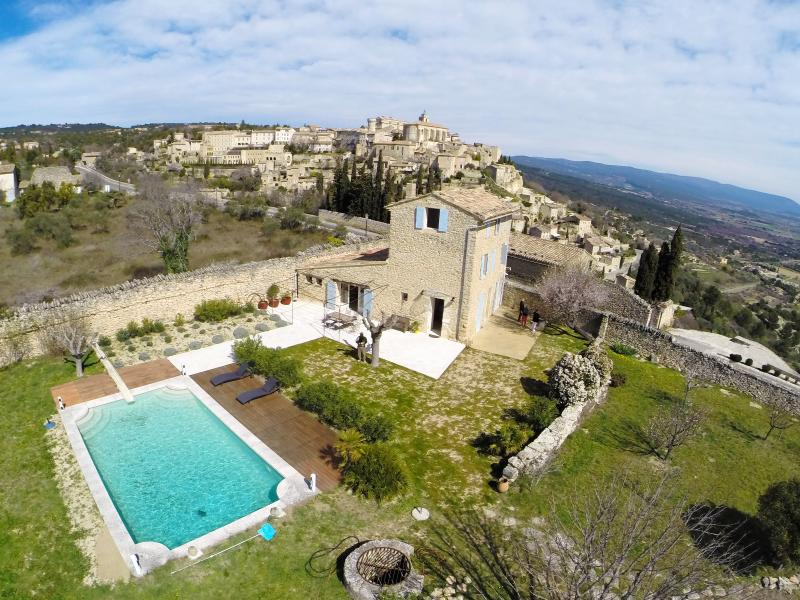 House, Pool and Garden from above, Gordes village in the background!