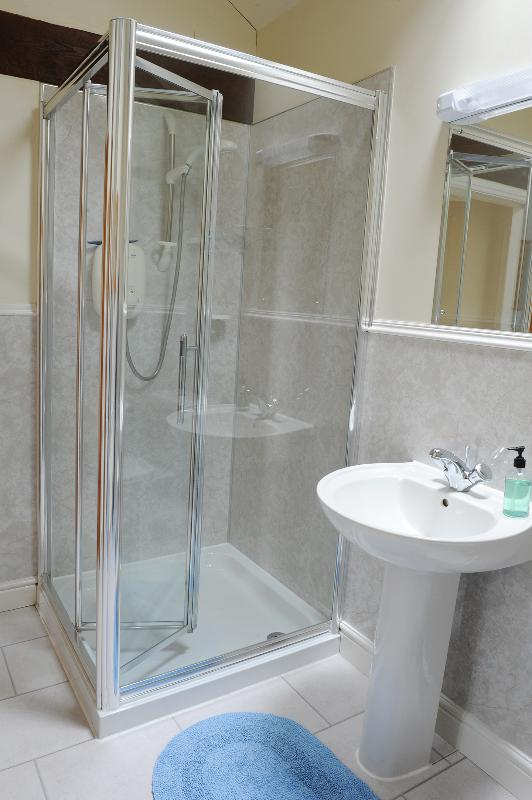Bathroom with bath and walk in shower, toilet and wash basin