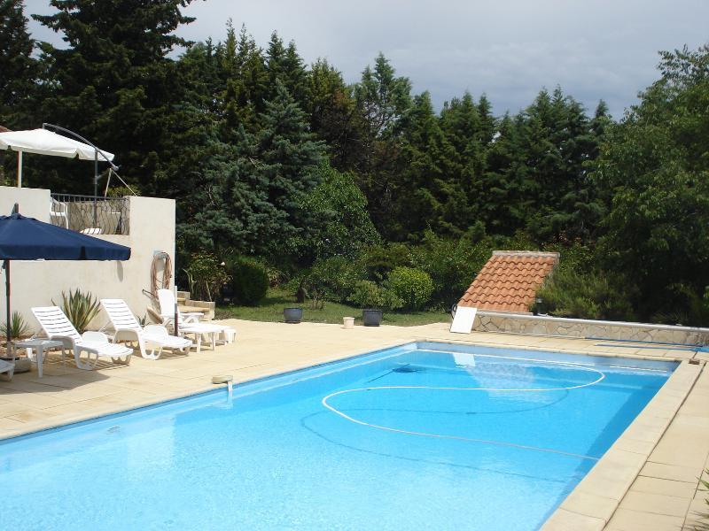 piscine privée 11x5m avec 8 transats + coussins et 2 grands parasols