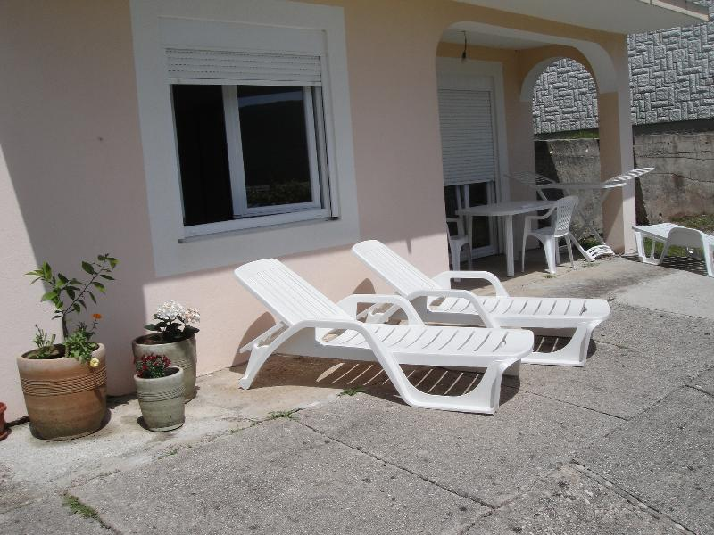 Lounging and dining Area outside the Lower Apartment