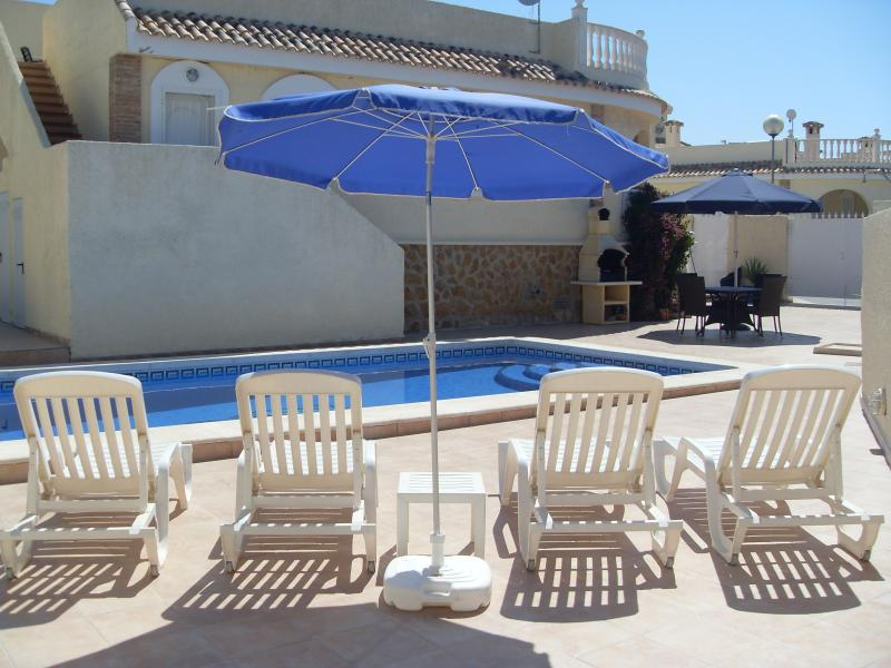 8 x 4m private swimming pool, with sunbeds, tables and chairs, BBQ and a table tennis table!