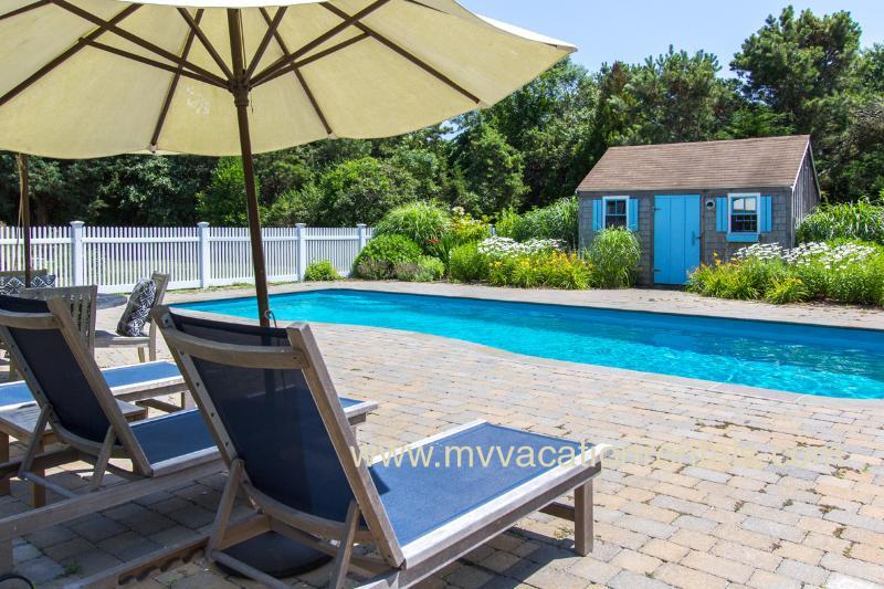 Pool, Patio, Gardens and Pool House
