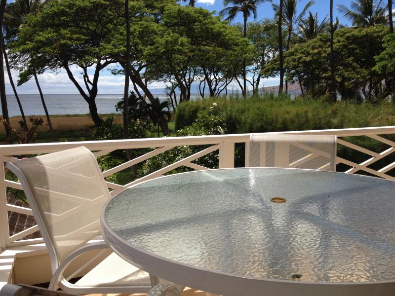 Private lanai with BBQ, seating for four, and unobstructed ocean views!