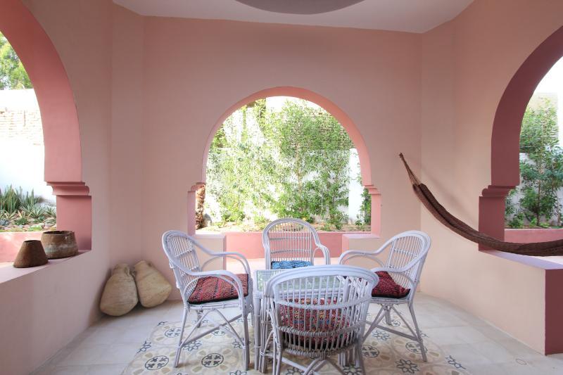 Outside terrace with hammock