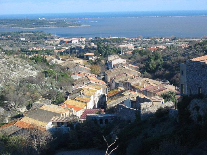 View over Fitou, the etang and the sea from the chateau de Fitou