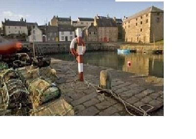 Portsoy harbour just 2 minutes walk from the cottage.