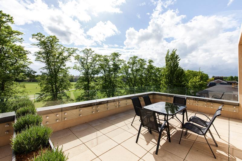 Expansive roof terrace with views over Parker's Piece; Cambridge's premier Park