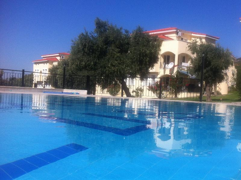 View of the apartment across the swimming pool with lovely blue sky