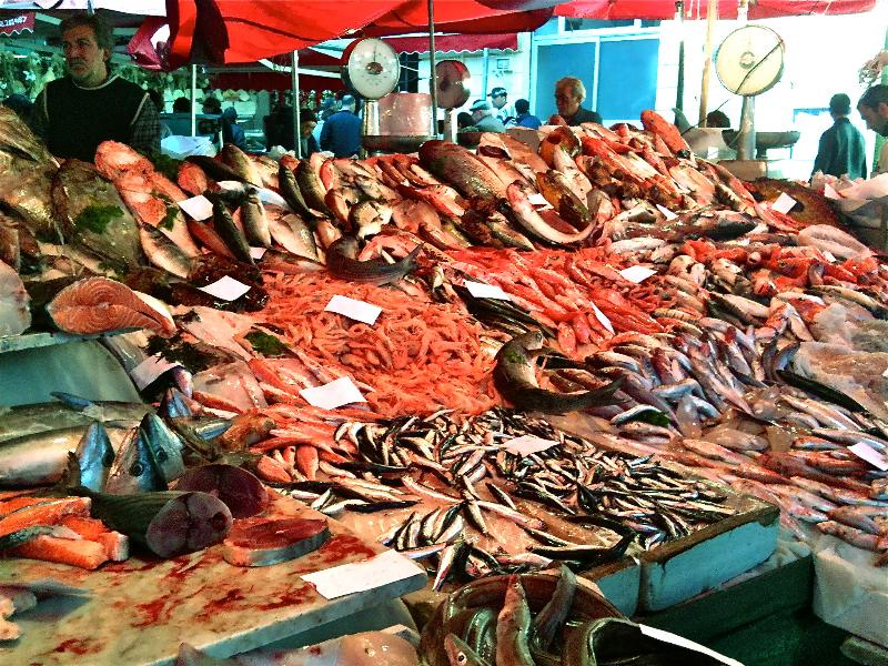 Fish market in Catania 25 minutes from Acireale