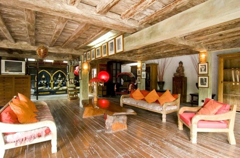 Spacious lounge area with a touch of ethnic decorations