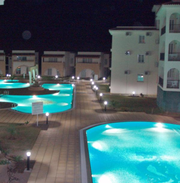 Night view of the pools