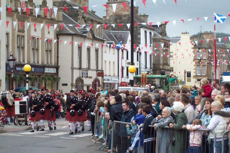 Bagpipe band on High Street during Peebles' annual Beltane festival - mid June.